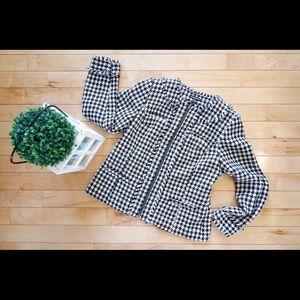 Fashion Bug Black & White Houndstooth Tweed Blazer